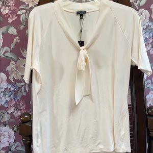 Talbots medium cream top short sleeves with bow